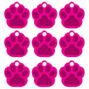 20pcs/lot Bling Paw Shape Custom Pet Dog Tags Disc ID Name Engraved Collar Tag