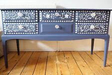 Sideboard Buffet Dresser Refurbished Blue Hand Painted with White Leaves Branch