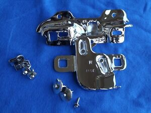 Chrome OE 82-93 Mustang Hood Latch + Bracket KIT