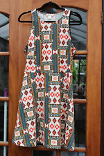 Colorful H&M Dress, Cream/Red/Orange/Blue, Size 16-18
