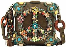 Mary Frances Peace Out Hippie Multi Brown Hippie Bag New Handbag Purse Limited
