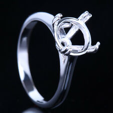 10K White Gold Engagement Wedding Solitaire Semi Mount Setting Ring Round 9mm