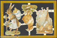 EASTER EGG CHICK BUNNY SCRAP PAPER EMBOSSED ENGLISH DIORAMA PAPER MACHE CARD
