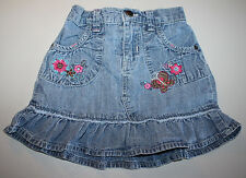 Denim Floral Embroidered Skirt by Circo Sz 4T EUC