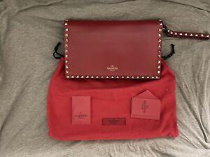 Valentino Garavani Rockstud Red Leather Zip Top Clutch Purse Handbag (Authentic)