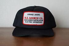 Vintage Gouker Garage Doors Embroidered Patch Snapback Trucker Hat Black