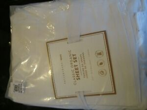 Pottery Barn Teen Classic Organic Sheet Set Full White New