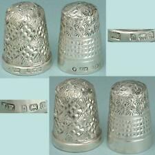 2 Antique English Sterling Silver Thimbles by James Fenton*1900 & 1910 Hallmarks