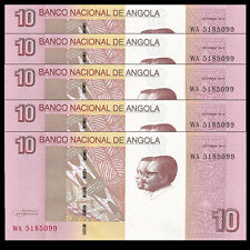 Lot 5 PCS, Angola 10 Kwanzas, 2012(2017), P-NEW, NEW DESIGN, UNC