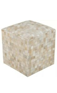 SP Pouf by Surya, Cream/Camel - POUF-239 - Leather - Brand New!