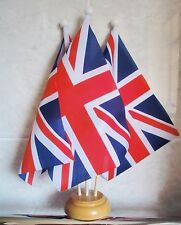 UNION JACK GREAT BRITAIN TABLE FLAG SET 3 flags with 3 hole wooden base