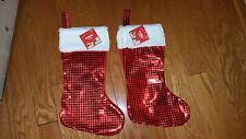 "Christmas Holiday Red (2) Front Shiny Squares Stockings. Size 16""H"