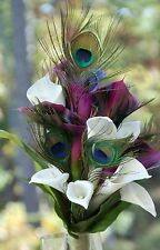 New Wedding Silk Bridal Bridesmaid Bouquet Peacock Feathers Calla Lilies Purple