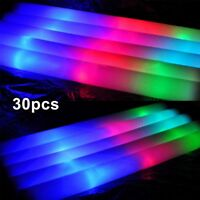 30PACK Light Up LED Foam Glow Sticks Roller Tube Baton Wands Party Rally Rave