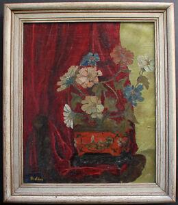 Sheldon. American artist. Still life flowers in oriental bowl. New York c1920