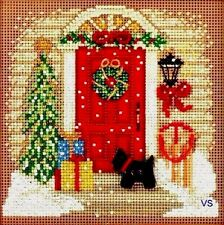 "Mill Hill Buttons and Beads Cross Stitch Kit 5"" x 5""~ HOME FOR CHRISTMAS 14-1301"