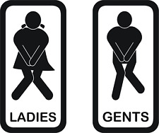 Toilet Door Sign Self Adhesive Vinyl Sticker, Bath Room Door Sticker Ladies Gent