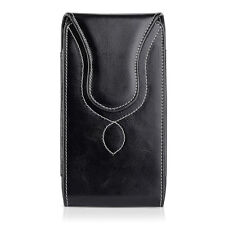Vertical Leather Case Cover Pouch Holster With Belt Loop For Large Cell Phones