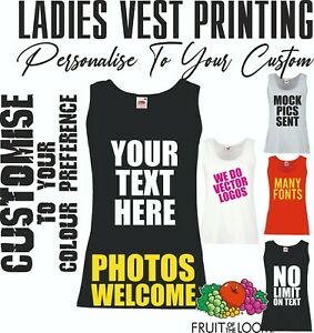 Womens Custom Personalised Vest Printing Ladies Vest Tops Text Hen Party Holiday