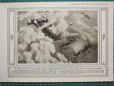 1915 WWI WW1 PRINT ~ GERMAN AIRCRAFT BEATING OFF ENGLISH DAMAGIN DESTROYERS