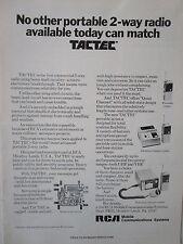 3/1973 PUB RCA MOBILE COMMUNICATIONS SYSTEMS TACTEC RADIO UHF VHF ORIGINAL AD