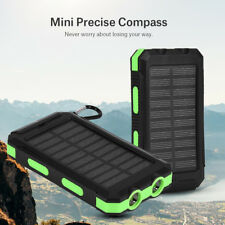 10000mAh Portable Solar Mobile Power Bank Case Fast Charger Dual USB + Compass