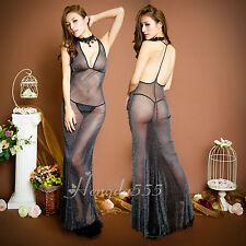 Clubwear sexy Stretch Länge Kleid Negligee Abendkleid Perlglanz mit Halskette