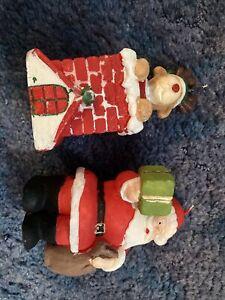 2 X Christmas Candles Santa/Rudolph