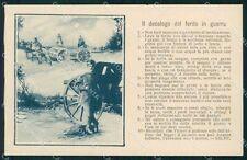 Militari Propaganda WWI Decalogo del Ferito in Guerra cartolina XF0640