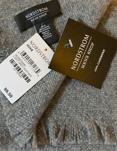 "Nordstrom Men's Shop 100% Cashmere Scarf Grey Heather 13"" X 72"" MSRP $99.50 NWT"