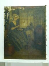 Antique 19C European Signed Oil Painting /C, Woman Seated in Parlor, 52.7 x 42cm