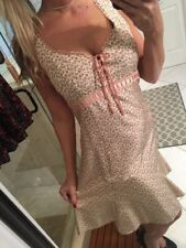 NANETTE LEPORE Silk Nude Pink Lace Up FLORAL Print RETRO 80s 40sDress 8