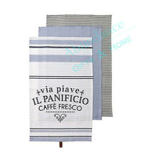 Caffé Fresco 100% Cotton Blue Kitchen 3 pk Tea Towel Set by Ladelle *NEW*
