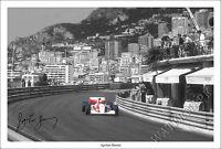 AYRTON SENNA SIGNED PHOTO PRINT POSTER NEW F1 FORMULA ONE MONACO MONTE CARLO