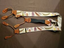 Trafalgar SILK SUSPENDERS - Brown/Cream Fall Leaves - Button