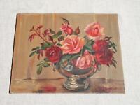 Vintage Roses Oil Painting signed Mastone