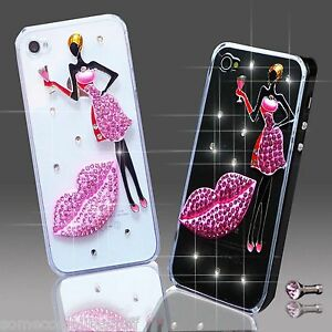 NEW 3D DELUX COOL BLING GIRL LIPS DIAMANTE CASE COVER FOR VARIOUS MOBILE PHONES