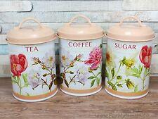 Floral Té Café & Azúcar Botes conjunto de almacenamiento de cocina de Metal de estaño