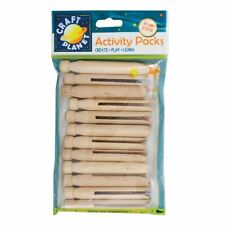Plain Wooden Dolly Pegs - Doll Peg Set x 12 - Craft Decorate Toy Make Paint GIFT