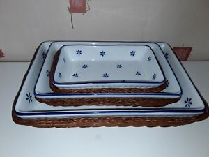 BLUE & WHITE SERVING DISHES IN BASKETS - IMMACULATE CONDITION RETRO VINTAGE