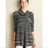 Field and Flower Anthropologie Space Dye Cowl Neck Tunic Sweater Size M Gray