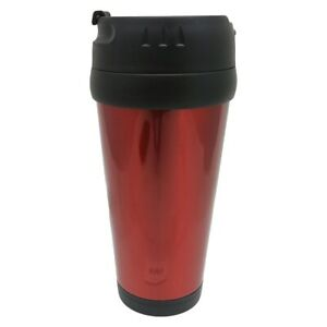 16 oz. Red Stainless Steel Exterior Plastic Inside Travel Mug without Handle