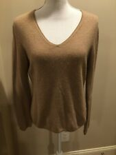 EVELYN GRACE L 100% Cashmere Taupe V Neck Turtleneck Sweater