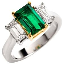 4Ct Emerald Cut Simulant Diamond 3 Stone Engagement Ring White Gold Finsh Silver