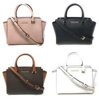 Michael Kors Selma Medium Top Zip Satchel Handbag Crossbody Signature Leather