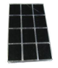 12 PCS BLACK CLEAR PLASTIC GEM COIN JAR SHOW CASE JEWELRY DISPLAY BOX 6x5x2CM.