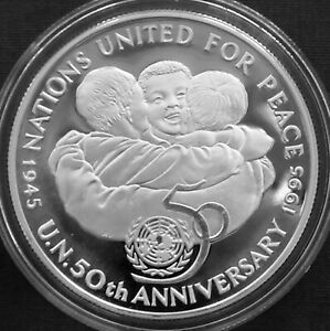 Jamaica 25$ Silver Proof 1995 United Nations 50th Anniversary