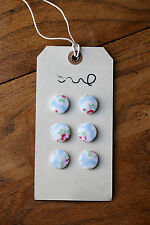 6 x Handmade Cath Kidston Fabric Covered Buttons 19mm Blue Provence Rose Floral