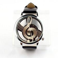 Black Music Notation Quartz Watches Womens Mens Leather Band Analog Wristwatch