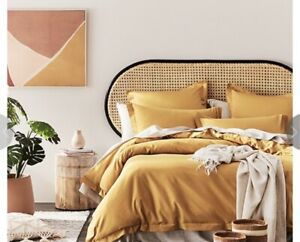 Adairs SUPER KING 600TC Bamboo Quilt Cover In HONEY MUSTARD -  BNWT RRP $220